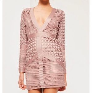 Pink Lace Plunge Bodycon Dress